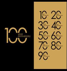 100 year anniversary gold set template design vector