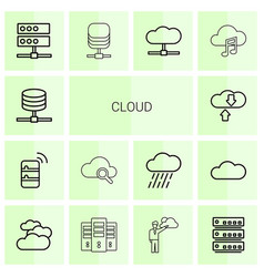 14 cloud icons vector