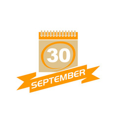 30 september calendar with ribbon vector