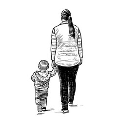 a young mother with her kid walking on a stroll vector image