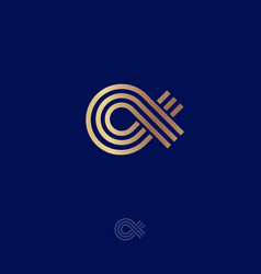 Alpha greek letter monogram linear gold vector