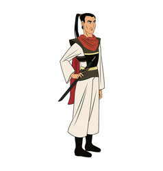 animation asian man long hair to ancient clothes vector image