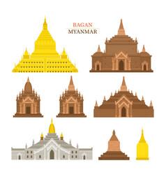 Bagan myanmar architecture building landmarks vector