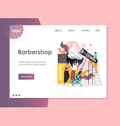Barbershop website landing page design vector