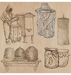 Bees beekeeping and honey - hand drawn pack 4 vector