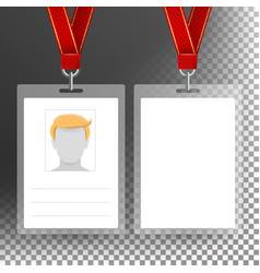 Blank badge with ribbon lanyard vector