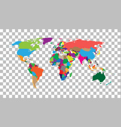 Blank colorful world map on isolated background vector