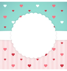 Blue and pink card template with hearts vector