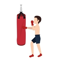 Boxer silhouette avatar with punch bag icon vector