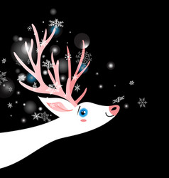Bright winter new year postcard with a white deer vector