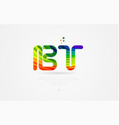 Bt b t rainbow colored alphabet letter logo vector