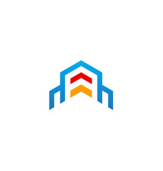 building shape line architecture design logo vector image