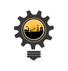bulb and gear shape with oil extraction industry vector image