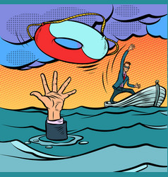 businessman and lifeline saving business vector image