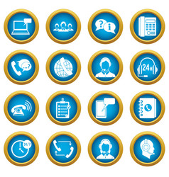 call center symbols icons blue circle set vector image vector image