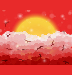 Cartoon flying birds in clouds on sun and red vector