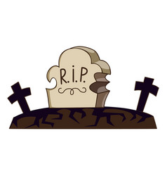 cemetery grave icon cartoon style vector image
