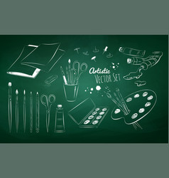 Chalked set of artists supplies vector