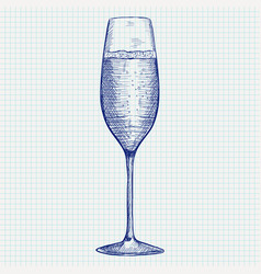 Champagne glass doodle on notebook sheet vector