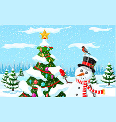 christmas background snowman with fir tree vector image