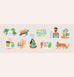 collection ecology stickers with slogans - zero vector image