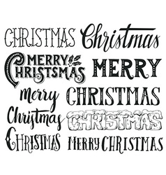 Collection of Merry Christmas hand lettering vector image