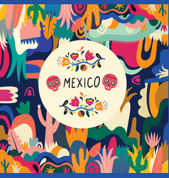 colorful background mexico vector image