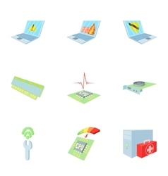 Computer maintenance icons set cartoon style vector