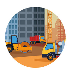 construction truck steamroller and cement vehicle vector image