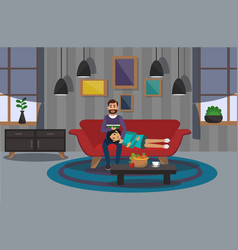 couple on sofa in room vector image