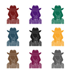 Cowgirl icon in black style isolated on white vector