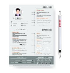 creative minimalist cv resume template vector image