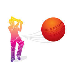 Cricket player hitting big shot vector