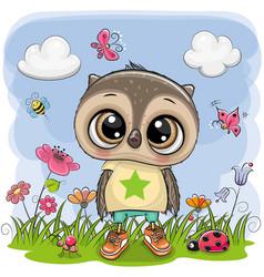 Cute cartoon owl boy on a meadow vector