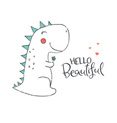 cute dinosaur in love vector image