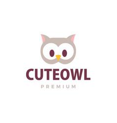 Cute owl flat logo icon vector
