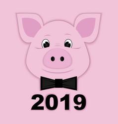 cute piggy paper pink symbol 2019 vector image
