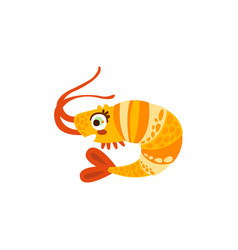 Cute shrimp sea creature hand drawn vector