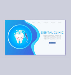 Dental clinic web template with cute healthy vector
