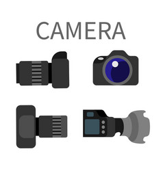 Digital photocameras with lens isolated on white vector