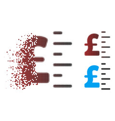 Disappearing pixel halftone pound value icon vector