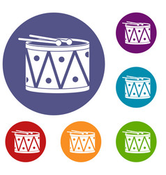 Drum and drumsticks icons set vector