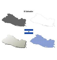 El Salvador outline map set vector