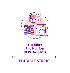 Eligibility and participants number concept icon vector