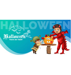 Father and son making hallows pumpkin poster vector
