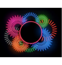 fireworks celebration frame in neon style and vector image