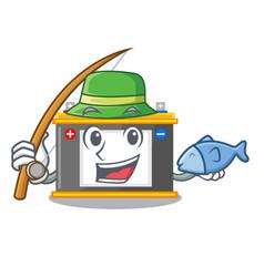 Fishing accomulator cartoon sticks on the wall vector