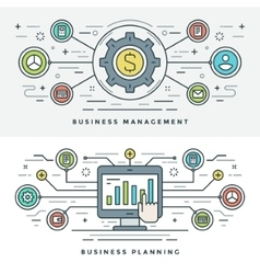 Flat line Business Management and Planning Concept vector
