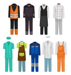 Flat set of staff clothing uniform of vector