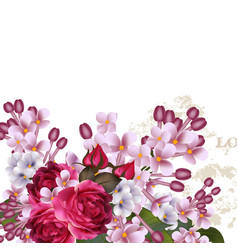 floral background with lilac flowers and roses vector image